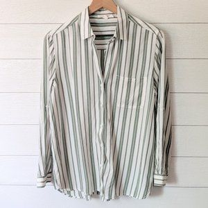 Beach Lunch Lounge Green Striped Button Down
